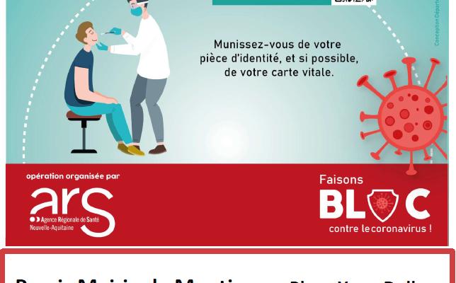 Opération de dépistage COVID-19 gratuit à Montignac